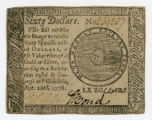 Note, Continental Congress sixty dollars